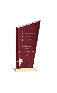 """Rosewood Peak Plaque on Gold Base w Star 7.5"""""""