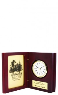 Rosewood Book Clock, Gold