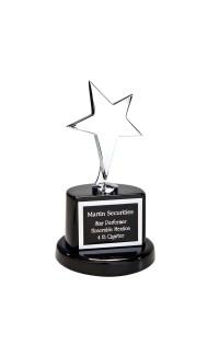"Polished Silver Star on Round Black Base, 7"""