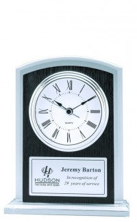 Glass Clock with Black Wood Grain Accent 7""