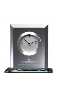 Glass Clock w White Face, 7""