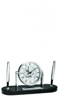 Silver Skeleton Clock w/Dbl Pen Set