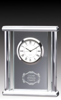 Glass Clock w/Silver Pillars
