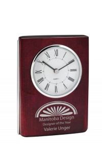 "Rosewood Clock w Silver Trim 5.75"""