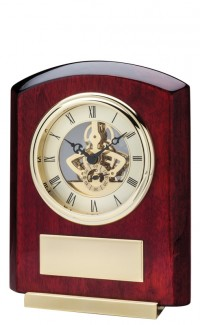 Gold Skeleton Clock w/Rosewood, 7 1/4""