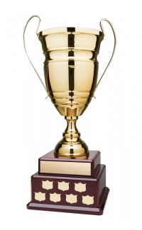 """25.5"""" Annual Cup, Gold on 2 Tier Rosewood Piano Finish Base"""
