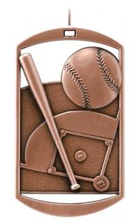 MEDAL DOG TAG BASEBALL BRONZE