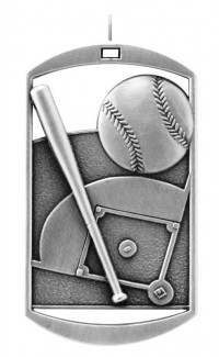 MEDAL DOG TAG BASEBALL SILVER
