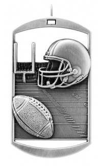 MEDAL DOG TAG FOOTBALL SILVER