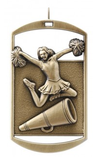 MEDAL DOG TAG CHEERLEADER GOLD