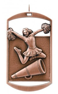 MEDAL DOG TAG CHEERLEADER BRONZE
