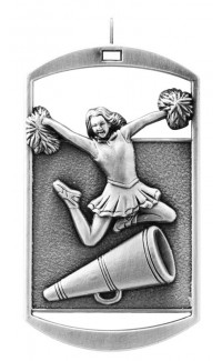 MEDAL DOG TAG CHEERLEADER SILVER