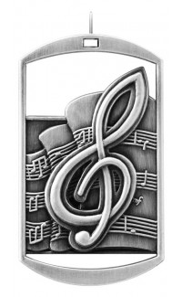 MEDAL DOG TAG MUSIC SILVER