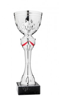 """Economy Cup Silver, Red Accents 10"""""""