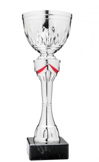 """Economy Cup Silver, Red Accents 12"""""""
