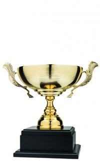 """13"""" Classic Cup, Gold Ridged Cup w Laurel Handles"""