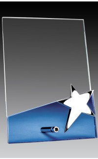 "Glass Plaque on Pin w Star, Blue Base 4"" x 6"""