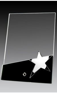 "Glass Plaque on Pin w Star, Black Base 4"" x 6"""