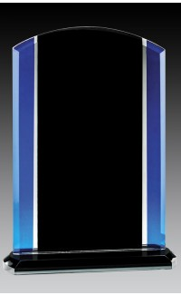 Glass Rounded Top Plaque, Black/Blue 7.25""