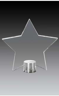 """Clear Glass Star Plate on Round Aluminum Base, 4.75"""""""