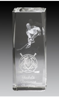 Rectangular Crystal  Block w Laser Image, Hockey 4.75""
