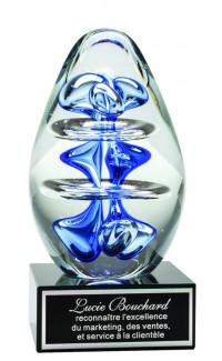 Blue Oval Art Glass, 5""