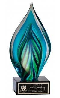Blue Twist Flame Art Glass, 8.5""