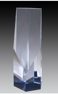 Crystal Tower w/Blue Accent, 8""