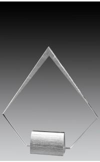 "Glass Diamond with Brushed Metal Base, 7.75"""