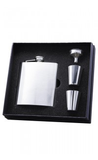 Flask Matte Black Finish Gift Set, 6 oz