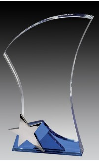 """Glass Clear Curved Block w Star, Blue Base 9.25"""""""