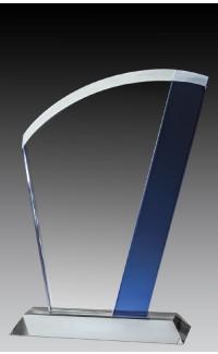 """Glass Fan, Blue Accent, 7 3/4"""""""