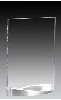 """Clear Glass Plate on Curved Brushed Aluminum Base, 5.75"""""""