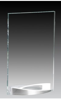 """Clear Glass Plate on Curved Brushed Aluminum Base, 7.75"""""""