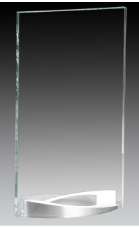 """Clear Glass Plate on Curved Brushed Aluminum Base, 9.75"""""""