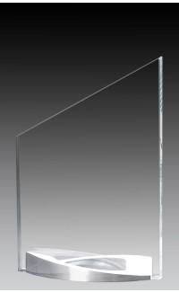 "Clear Glass Peak on Curved Brushed Aluminum Base, 7.75"""