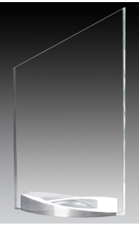 "Clear Glass Peak on Curved Brushed Aluminum Base, 9.75"""