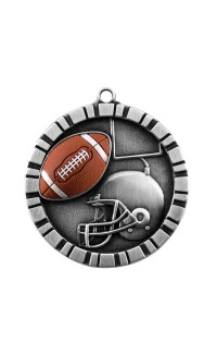 MEDAL IMPACT 3-D FOOTBALL SILVER