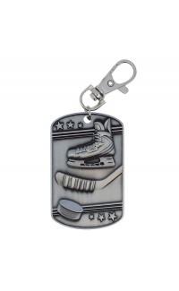 Hockey Dog Tag Zipper Pull Silver