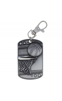 Basketball Dog Tag Zipper Pull Silver