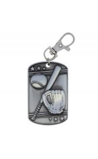 Baseball Dog Tag Zipper Pull Silver
