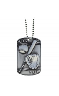 Baseball Dog Tag with Ball Chain