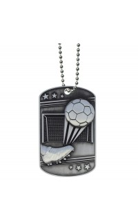 Soccer Dog Tag with Ball Chain