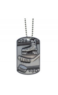 Hockey Dog Tag with Ball Chain