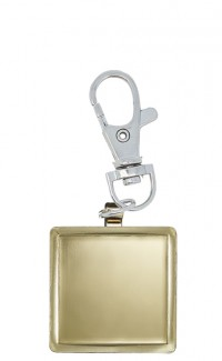 Key Chain Square Insert Holder, Gold