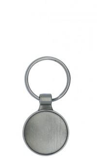 Key Chain Round Insert Holder, Silver