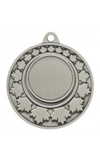 "Medal Maple Leaf 1"" Insert 2"" Dia. Silver"