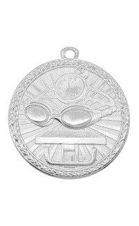 """Swimming Medal Triumph 2"""" Dia. Bright Silver"""