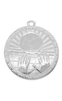 """Volleyball Medal Triumph 2"""" Dia. Bright Silver"""