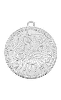 """Medal Triumph 2"""" Dia. Music, Bright Silver"""